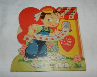 If Your Heart Were on Sale Vintage Mechanical Valentine - Collectible Greeting card Ephemera - Boy with Tickets                       2-28-6