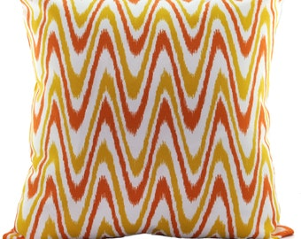 OUTDOOR Pillow Cover, Red, Yellow, White Geometric Pattern