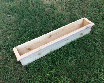 Decorative top edge cedar box window planter, assorted sizes, natural, ready to plant, rectangular, drain holes, 36""