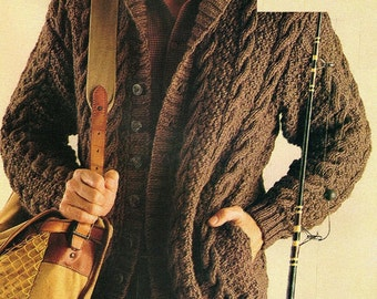 Mens Aran Cable Cardigan, Knitting Pattern. PDF Instant Download.