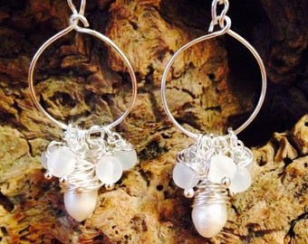 Wire wrapped Pearl hoops