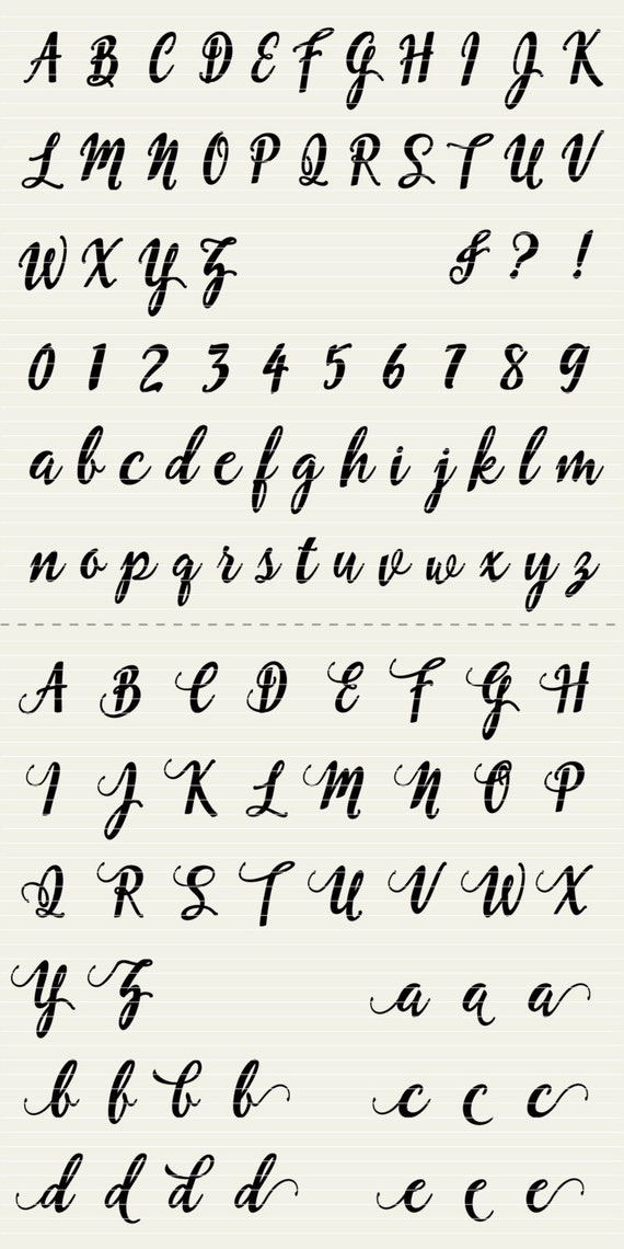 Full Alphabet Svg Fonts Cutfile Fun Modern Script Cricut