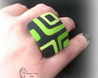Green retro ring / Square ring / Polymer clay ring
