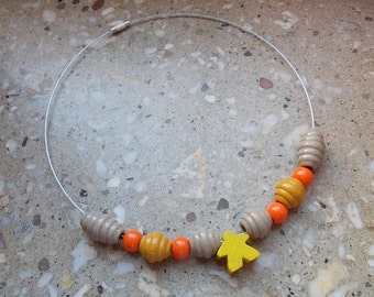 Geeky necklet with meeple of Carcassonne, Yellow, Board Game