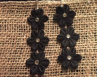 Black - 3 Flowers - Venise Lace Earrings with Swarovski Crystals