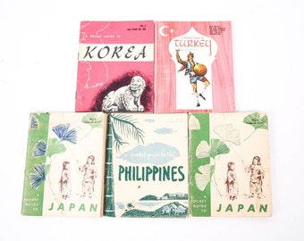 5 Vintage Travel Pocket Guides - 1950's