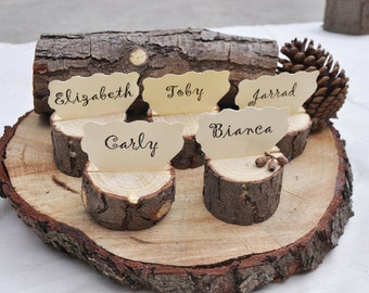 10 Large Place Card Holders Rustic With Bark For Wedding Decor