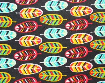 Feather Fabric / Cute Vibrant / Cotton / Black Red Aqua / Craft Quilt Dress Shirt Patch Pouch / Half Metre