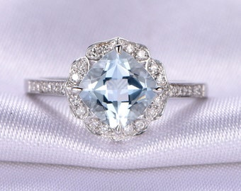 Vintage Aquamarine Engagement ring,14k White gold,7x7mm Cushion cut Blue stone,diamond Wedding Band,Floral Design,Personalized for her/him