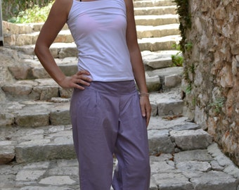 Dusty Lilac-Trousers/Pants,Side pockets,Wide leg pants,Relaxed fit,Drawstring at ankle,Straight line,Meditation,Lounge Wear,Pure cotton,Boho