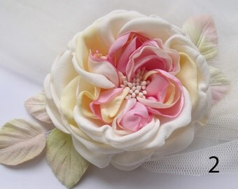 Flower vintage, rose hair rose brooch flower fabric flower handmade wedding flower girl, for brides flower, tea rose