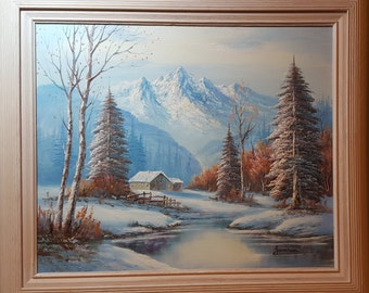 Winter Landscape Painting Signed by Artist