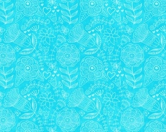 Flight of Fancy - 3391-16 Aqua Turquoise Monotone Floral by Sharla Fults Collection from Studio E