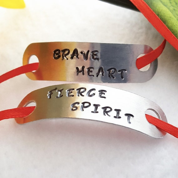Shoelace Tags, Shoelace Charms, Running Shoe Tag, Brave Heart Fierce Spirit, CrossFit Jewelry, Inspirational Motivational Gifts for Runners