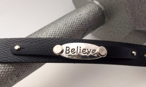 BELIEVE Stamped Leather Cuff, Crossfit Wrist Wrap Leather Bracelet, Believe Charms, Motivational Jewelry, Gifts for Mom, Christian Gifts