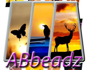Kit of 12 Sunset Sillouettes Trapezoid Images and Stickers
