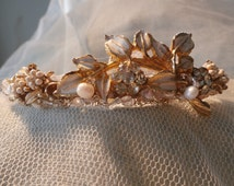 Vintage jewelry tiara, white,pearls,crystals,lace