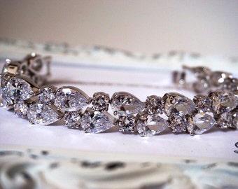 Teardrop CZ Bridal bracelet, cz bracelet, wedding bracelet, cubic zirconia bracelet, bridal jewelry, wedding accessories