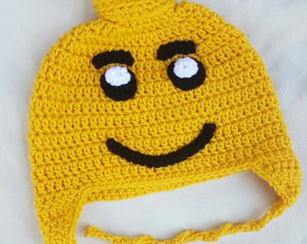 Lego inspired crocheted hat