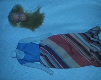 Vintage '70's Barbie Dress and Head Piece