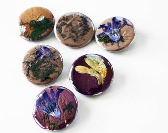 Hand Pressed Flower pinbacks