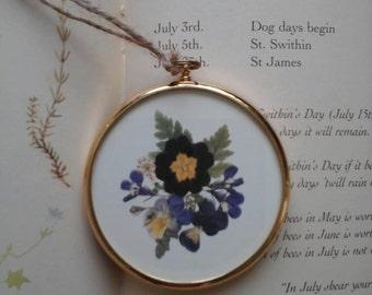 Pete Bates miniature,miniature art print,flower study,botanical print,flower print,miniature art,pressed flower print,Peter Bates,vintage,