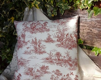 Toile de Jouy cushion~red toile de jouy cushion~french~vintage cushion~red and cream cushion~toile de jouy~linen cushion~french vintage