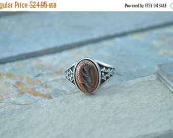 1 Day Sale Copper Accented Southwestern Kokopelli Ring Size 7.25 Sterling Silver 7.6g Vintage Estate