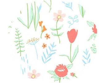 Plockade summer floral cotton fabric. Apparel and quilt floral cotton fabric. DIY sewing floral fabric. Spring/Summer bouquet cotton fabric.