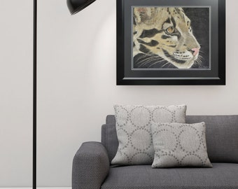 "Hunter 16"" x 20"" Panpastel Original of Clouded Leopard"