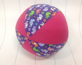 Balloon Ball Cover 30cm Round, elephants with hot pink panels, Eumundi Kids
