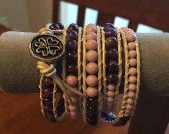 Five wrap leather bracelet