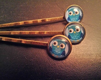 Lot of 2 strips owls blue