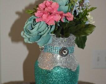 Silver, teal, blue, beaded vase