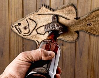 Wooden Bass Fish Bottle Opener