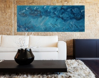 """40"""" w x 16""""h Acrylic Abstract painting. Contemporary art. Abstract Art For Sale.  Abstract Art."""
