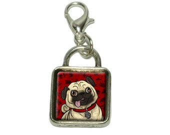 Pug Sticking Out Tongue Dangling Bracelet Pendant Square Charm