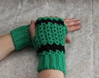 Green cotton mittens, cotton fingerless gloves, spring and autumn cotton crochet mittens