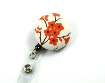 Floral Badge Reel, Fabric Button Reel, Fabric Retractable Badge Reel