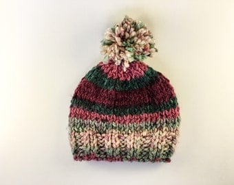 Hand knit childs baby hat