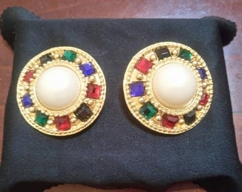 Vintage Emma Page gold clip on pearl and jewelled earings circa 1980 1990.