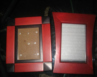Two Wood/Red Photo Picture Frames