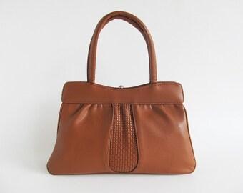 50s • Vintage • Handbag • Faux Leather Bag • Top Handle Bag • Brown Bag • Brown Hand Bag • Brown Handbag • Brown Purse • Faux Leather Purse