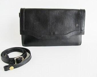 70s • Vintage • Leather Bag • Crossbody Bag • Black Leather Clutch • Bag • Black Shoulder Bag • Black Bag • Clutch • Shoulder Bag • 70s bag