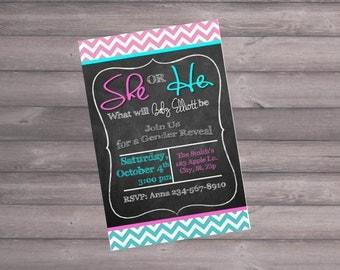 Gender Reveal Party Invitation, Gender Reveal Invitation, Chalkboard, Printable