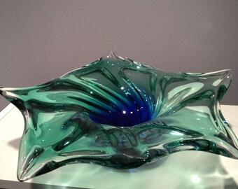 Glass bowl deep green 11W x 4H