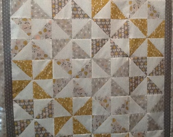 Handmade Baby Crib Quilt Gray-Pink-Yellow Pinwheels Appliqued Backing Eat-Sleep-Play-Repeat