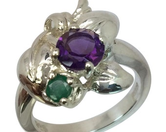 14k Amethyst & Emerald Ring, FREE SIZING
