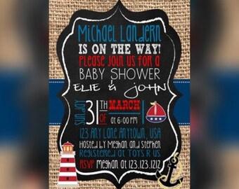 Nautical Baby shower Invitation, Ocean Baby Shower Invitation, Baby shower Invite, Ocean Invitation, Elegant Baby shower invitations