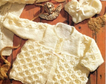 Knitting pattern baby matinee jacket cardigan coat shawl bootees PDF Instant Download Nr.250